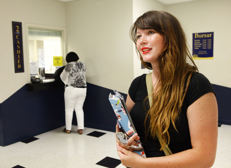 Photo - Amy Watkins is a UCO student who is going to be taking out student loans to complete her bachelor's degree, Monday, July 1, 2013. Interest rates on federal student loans are doubling today. Photo by David McDaniel, The Oklahoman
