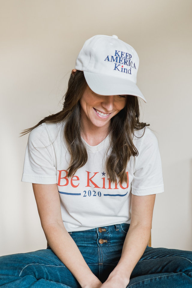 Photo - Be Kind 2020 unisex tee and Keep America Kind hat both by The Be Kind Company.