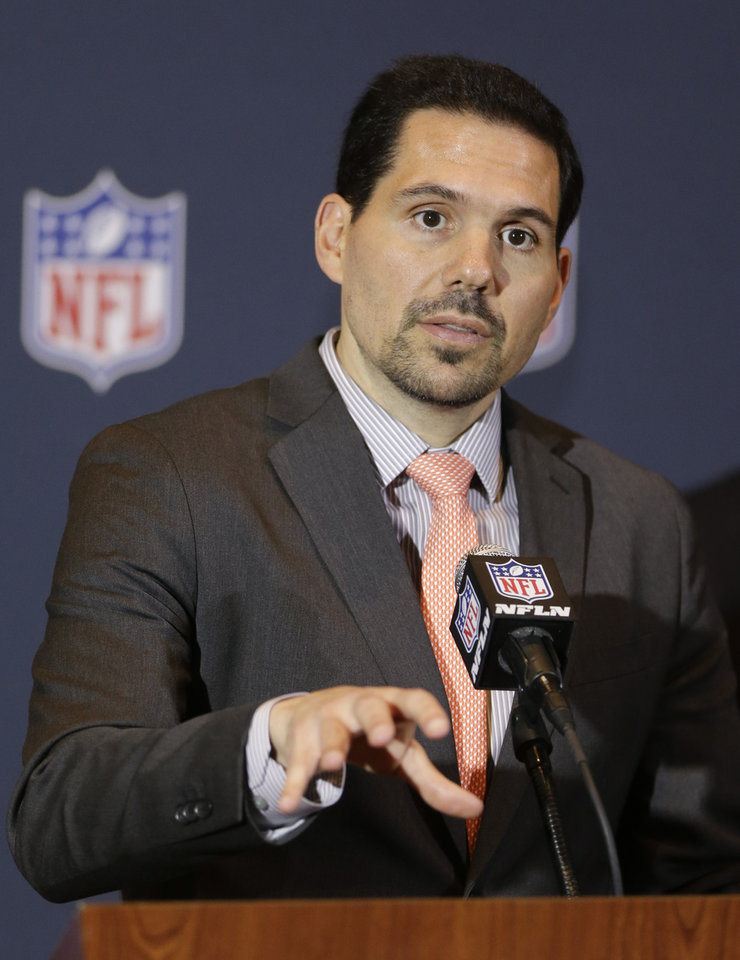 Photo - FILE - In this March 24, 2014, file photo, NFL officiating director Dean Blandino speaks during a news conference at the NFL football annual meeting in Orlando, Fla. Blandino told a gathering of Associated Press Sports Editors on Thursday, April 24, 2014, that in an effort to have on-field action in which the players are respectful to each other, coaches, officials and fans, there will be a heavy emphasis on reducing taunting. (AP Photo/John Raoux, File)