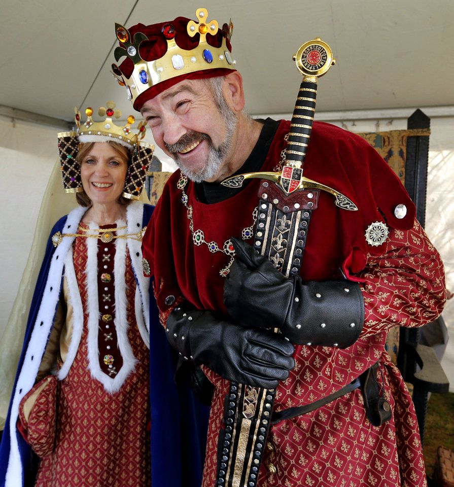 Queen Phillipa, Debra Adams, and King Edward III, Cody Clark, greet visitors during the Medieval Fair at Reaves Park on Friday, April 5, 2013 in Norman, Okla.  Photo by Steve Sisney, The Oklahoman