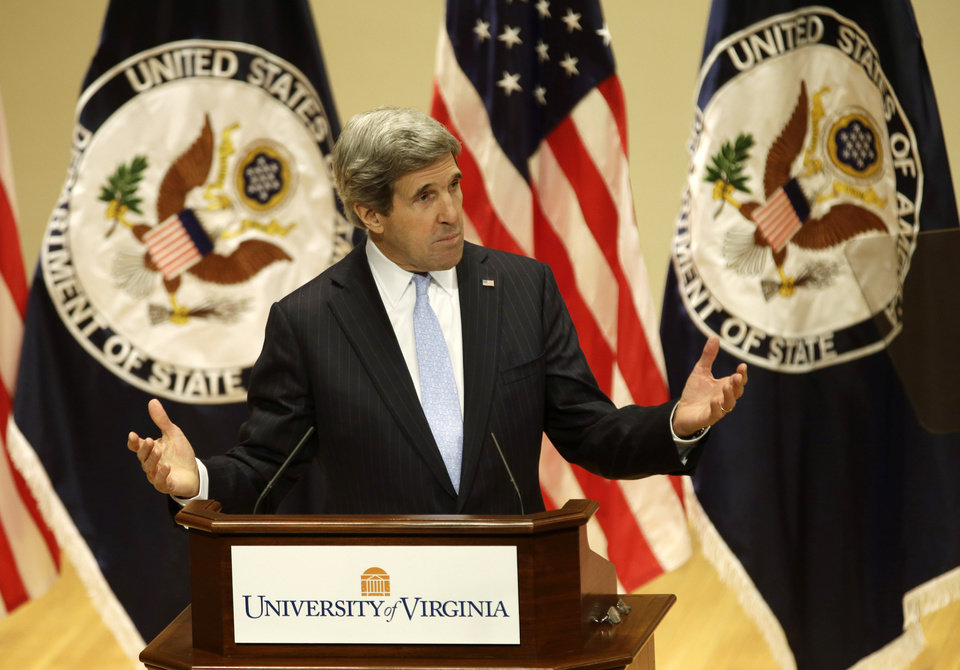 Secretary of State John Kerry gestures as he delivers his first foreign policy speech, Wednesday, Feb. 20, 2013, in Old Cabel Hall at the University of Virginia in Charlottesville, Va. Kerry said the greatest challenge to U.S. foreign policy is not emerging China or Middle East instability. It's Congress. (AP Photo/Steve Helber)
