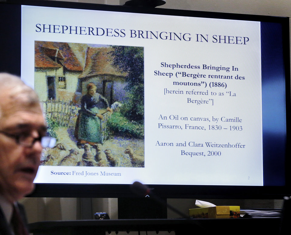 "Photo -  The University of Oklahoma's possession of the painting ""Shepherdess Bringing in Sheep"" by Camille Pissarro was be the topic of discussion in a morning meeting of the Oklahoma House Government Modernization and Accountability Committee at the state Capitol on Monday. Photo by Jim Beckel, The Oklahoman   Jim Beckel -"