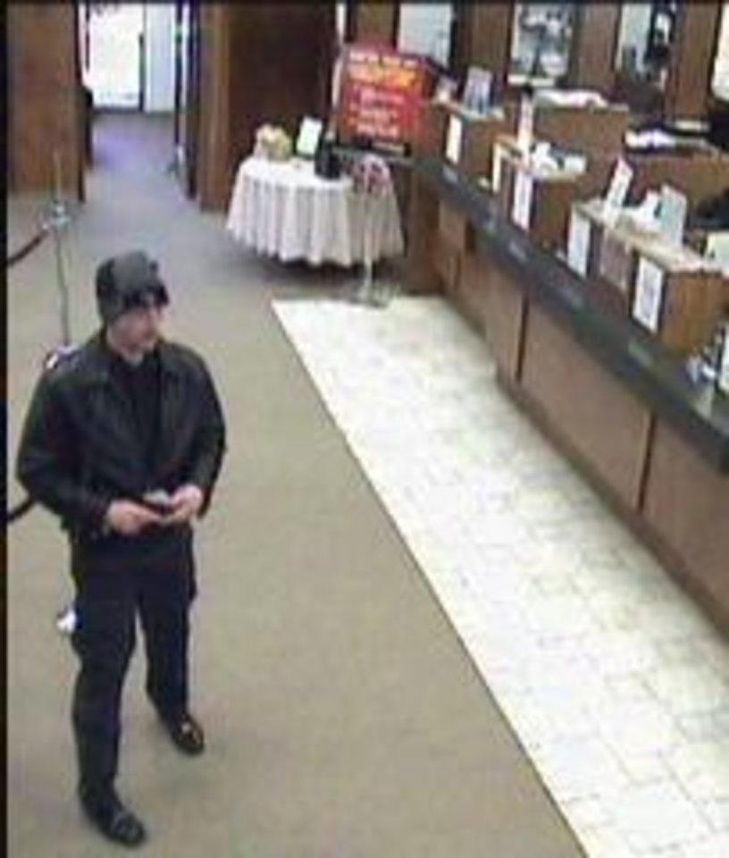 Photo -  Surveillance photo of a suspect who attempted to rob a bank Thursday morning in Midwest City. Photo provided    -  Photo provided by the FBI
