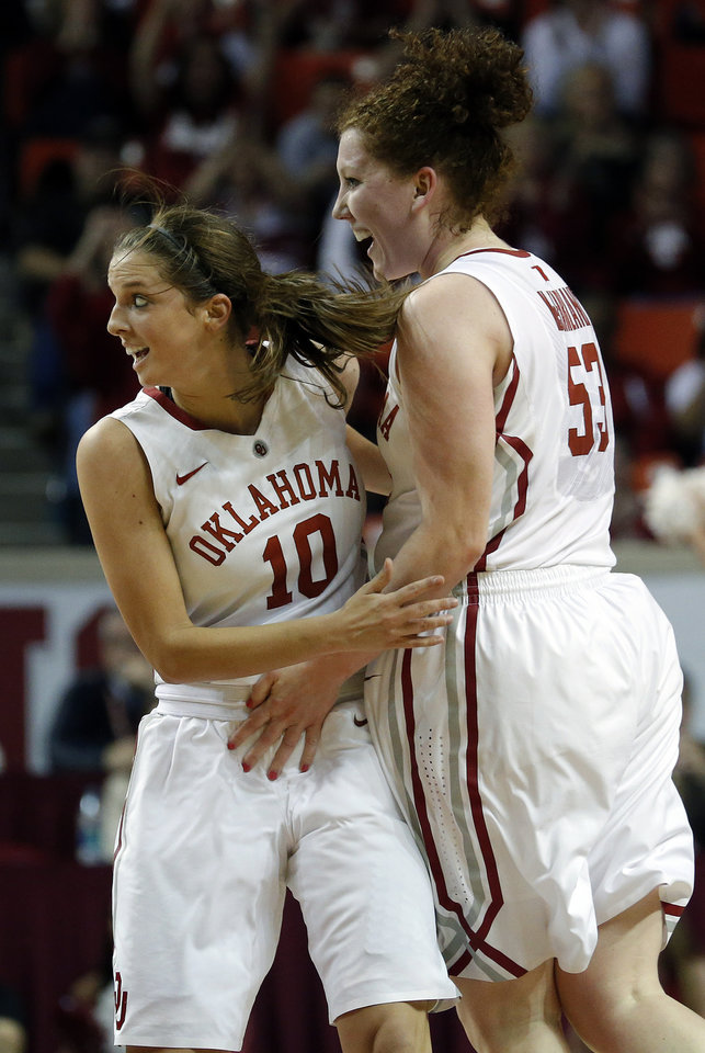 Oklahoma's Morgan Hook (10) and Joanna McFarland (53) celebrate a point during the women's Bedlam basketball game between Oklahoma State University and Oklahoma at the Lloyd Noble Center in Norman, Okla., Sunday, Feb. 10, 2013.Photo by Sarah Phipps, The Oklahoman