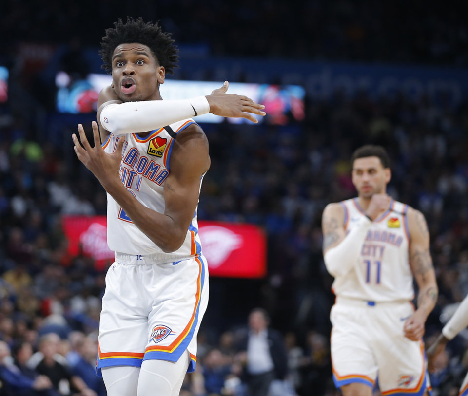 Photo - Oklahoma City's Shai Gilgeous-Alexander (2) shouts at an official during an NBA basketball game between the Oklahoma City Thunder and the Los Angeles Clippers at Chesapeake Energy Arena in Oklahoma City, Tuesday, March 3, 2020. [Bryan Terry/The Oklahoman]