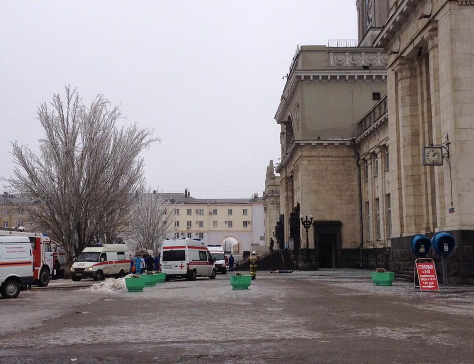 Photo - In this photo taken on a cell phone,  made available by Volgograd Mayor's Office, ambulance vehicles line up to a main entrance of Volgograd railway station , Sunday, Dec. 29, 2013. More then a dozen people were killed and scores were wounded Sunday by a suicide bomber at a railway station in southern Russia, officials said, heightening concern about terrorism ahead of February's Olympics in the Black Sea resort of Sochi. (AP Photo/Nikita Baryshev,Volgograd Mayor's Office Handout)