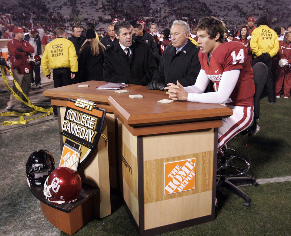 Photo - OU quarterback Sam Bradford is the guest on ESPN's Game day after the college football game between the University of Oklahoma Sooners and Texas Tech University at the Gaylord Family -- Oklahoma Memorial Stadium on Saturday, Nov. 22, 2008, in Norman, Okla.   BY STEVE SISNEY, THE OKLAHOMAN
