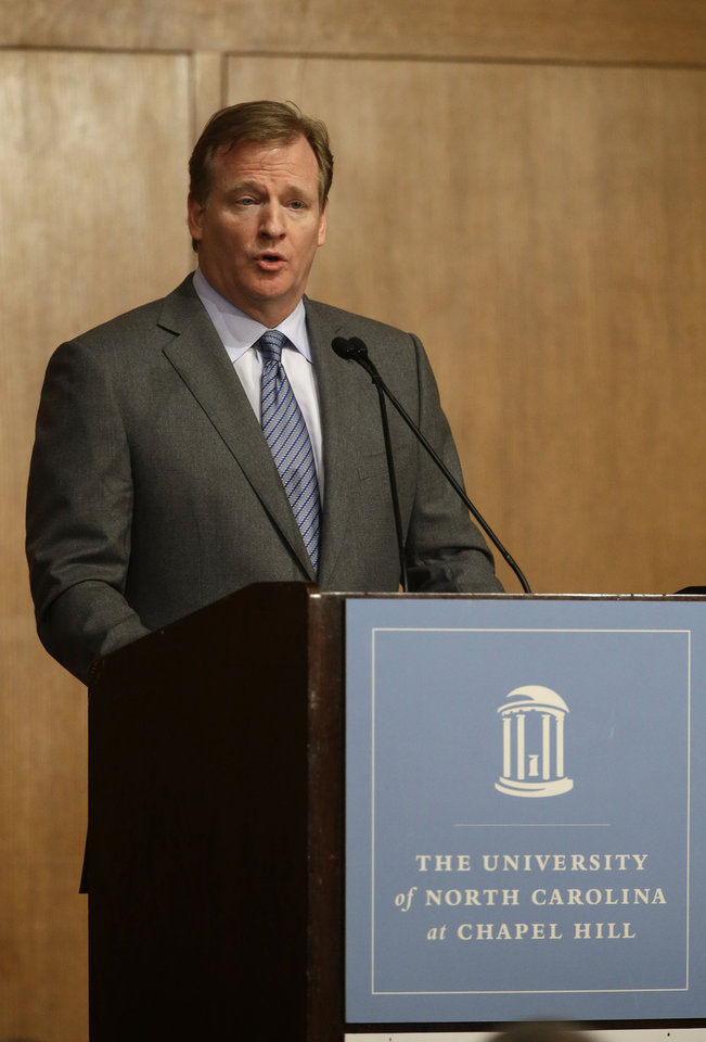 Photo - NFL Commissioner Roger Goodell delivers the Department of Exercise and Sport Science's annual Carl Blyth Lecture at the University of North Carolina at Chapel Hill, N.C., Wednesday, March 6, 2013. (AP Photo/Gerry Broome)