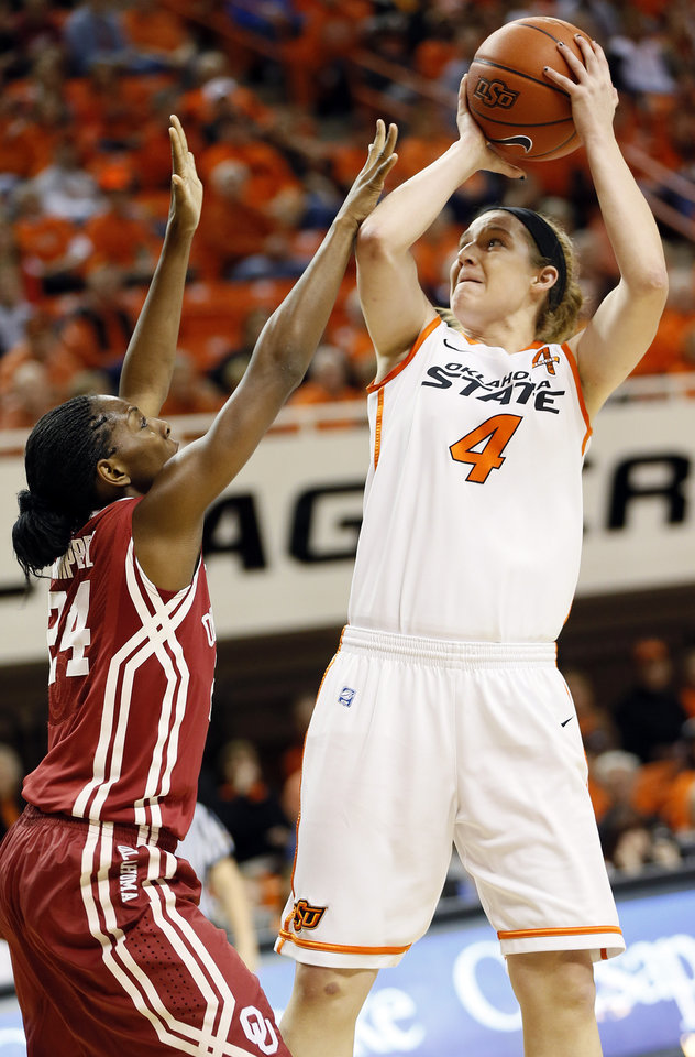 Photo - Oklahoma State's Liz Donohoe (4) shoots against Oklahoma's Sharane Campbell (24) during the Bedlam women's college basketball game between Oklahoma State University (OSU) and the University of Oklahoma (OU) at Gallagher-Iba Arena in Stillwater, Okla., Saturday, Feb. 23, 2013. Photo by Nate Billings, The Oklahoman