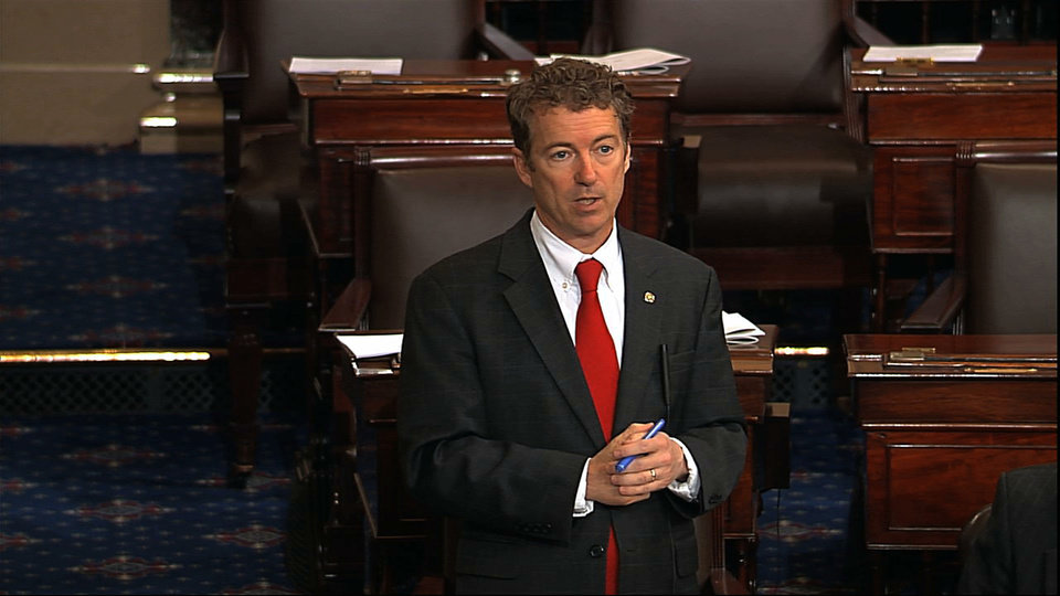 This video frame grab provided by Senate Television shows Sen. Rand Paul, R-Ky. speaking on the floor of the Senate on Capitol Hill in Washington, Wednesday night, March 6, 2013, shortly before 10 p.m. EST. Paul was still going strong with his self-described filibuster blocking confirmation of President Barack Obama�s nominee John Brennan to lead the Central Intelligence Agency. (AP Photo/Senate Television)