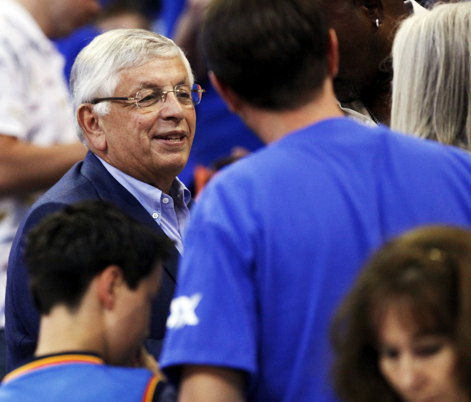 Photo - NBA Commisioner David Stern talks with fans before Game 4 of the Western Conference Finals between the Oklahoma City Thunder and the San Antonio Spurs in the NBA playoffs at the Chesapeake Energy Arena in Oklahoma City, Saturday, June 2, 2012.  Photo by Nate Billings, The Oklahoman
