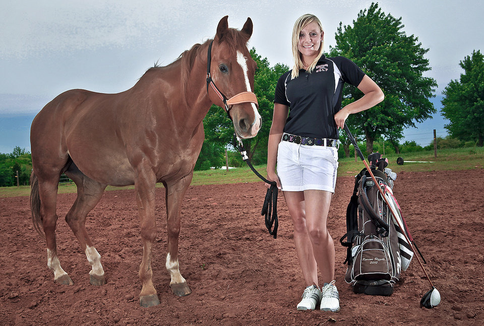 Mustang golfer Karson Bizzell is also a barrel racer with her horse, Scooter Moons.  Photo by Chris Landsberger, The Oklahoman