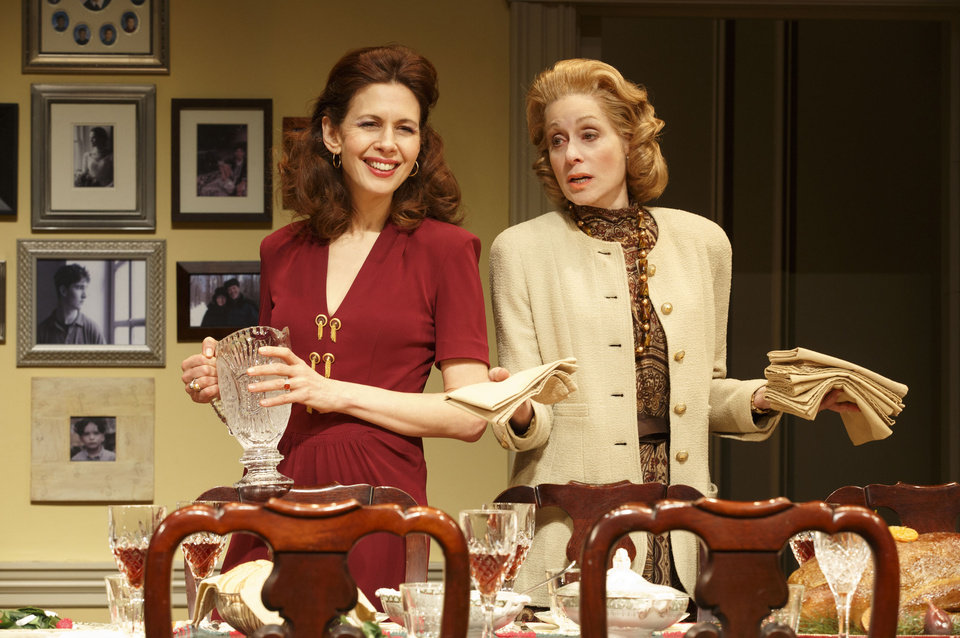 "This theater publicity image released by Boneau/Bryan-Brown shows Jessica Hecht, left, and Judith Light in a scene from ""The Assembled Parties, playing at the Samuel J. Friedman Theatre in New York. (AP Photo/Boneau/Bryan-Brown, Joan Marcus)"