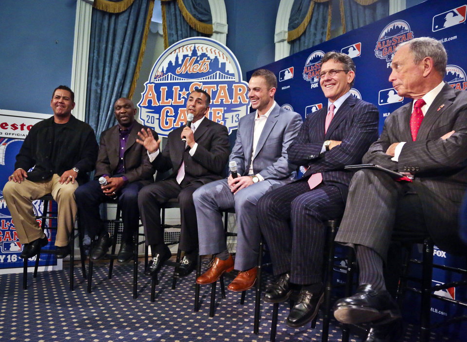 Photo - New York Mets Legends and Club Ambassadors, from left, Edgardo Alfonzo, Mookie Wilson, and John Franco, six-time All-Star David Wright, Major League Baseball Executive Vice President Tim Brosnan, and Mayor Michael R. Bloomberg, host a news conference to outline the festivities for baseball's All-Star game on Wednesday, April 24, 2013 in New York. The Mets are hosting the All-Star game on July 16. (AP Photo/Bebeto Matthews)