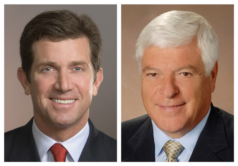 This photo combo of file images provided by Johnson & Johnson show Johnson & Johnson CEO Alex Gorsky, left, and Chairman Bill Weldon. Weldon will step down from the post of Chairman in late December 2012, at which time Gorsky will hold both of the company\'s top titles. (AP Photo/Johnson & Johnson)