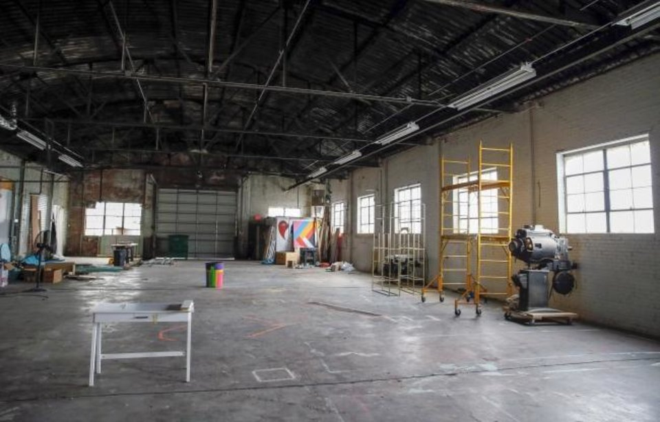 Photo -  A view of the former workshop for Factory Obscura, which will be expanded into a performance space, lounge and cafe at 25 NW 9 St., in Oklahoma City, Thursday, Jan. 30, 2020. [Nate Billings/The Oklahoman]