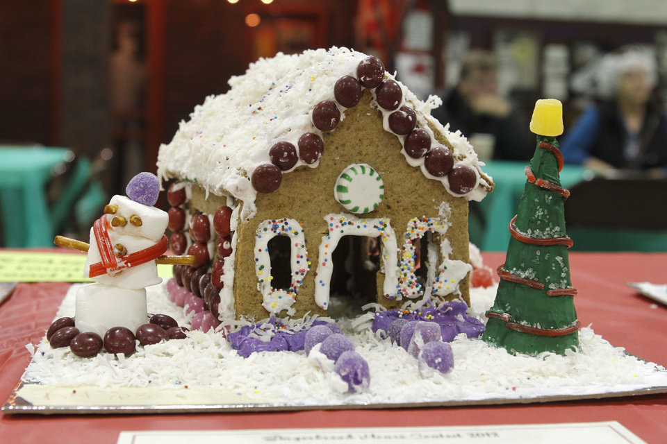 One of the entries in the fourth annual gingerbread house contest is seen at the Edmond Historical  Society and Museum.