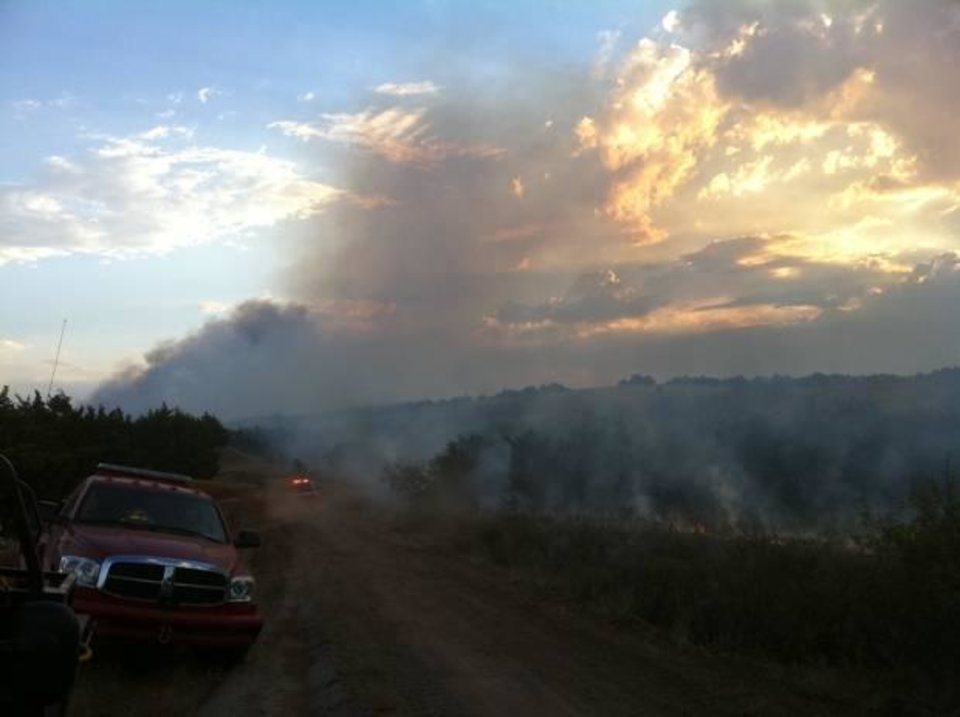 Wildfire near Geary - User-submitted photo by John Kilmer