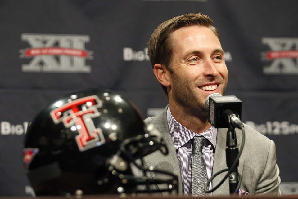 Texas Tech football coach Kliff Kingsbury addresses the media during the Big 12 Conference Football Media Days Monday, July 22, 2013 in Dallas.  (AP Photo/Tim Sharp) ORG XMIT: TXTS112