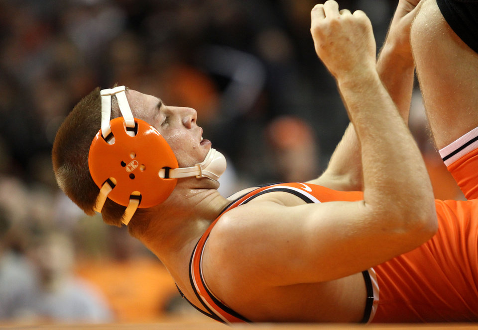 Photo -  Oklahoma State wrestler Dean Heil will be shooting for his second straight NCAA wrestling title this weekend. [PHOTO BY KURT STEISS, For The Oklahoman]