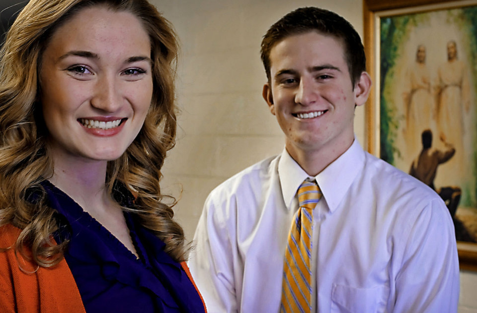 Photo - Lexi Goff, left, and Grayson Pratt, both of Edmond, are planning to become Mormon missionaries in the coming weeks. Photo by CHRIS LANDSBERGER, the Oklahoman