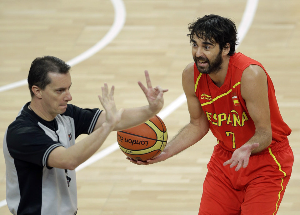 Spain's Juan-Carlos Navarro argues a call during the men's gold medal basketball game against the United States at the 2012 Summer Olympics, Sunday, Aug. 12, 2012, in London. (AP Photo/Matt Slocum)