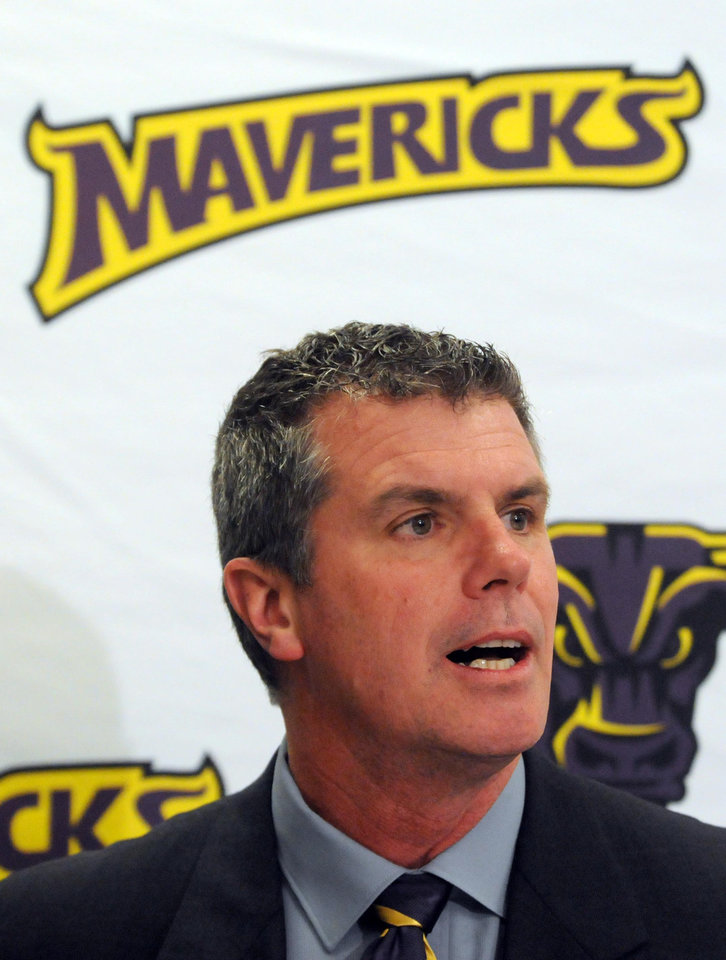 Photo - Minnesota State, Mankato athletic director Kevin Buisman speaks during a news conference Thursday, April 17, 2014, in Mankato, Minn. Players ended their boycott of spring practice and said Thursday they will play for coach Todd Hoffner, who was reinstated after being exonerated of having child pornography on his cellphone. (AP Photo/Mankato Free Press, Pat Christman)