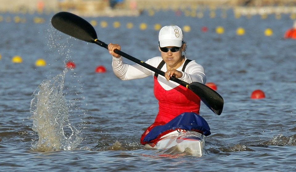 Photo - Carrie Johnson competes in the women's kayak 500m final during the USA Canoe/Kayak U.S. Olympic Team Trials on the Oklahoma River in Oklahoma City, Friday, April 20, 2012. Photo by Nate Billings, The Oklahoman