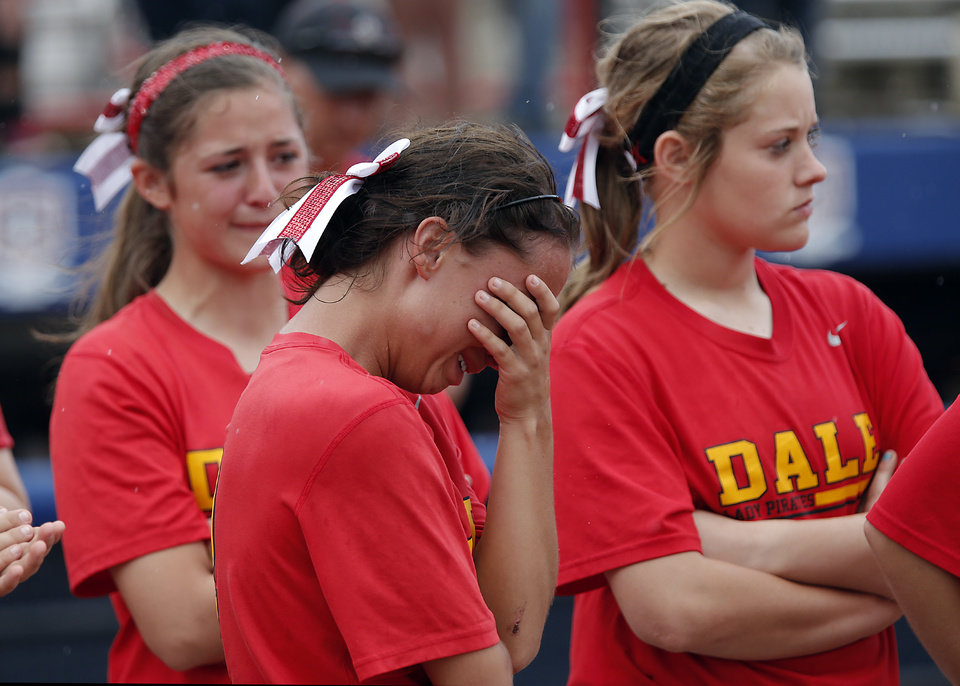 Photo - Dale's Kassidy Sparks reacts after the loss to Tushka in the Class 4A Oklahoma State High School Slow Pitch Softball Championship at ASA Hall of Fame Stadium in Oklahoma City, Wednesday, May 1, 2013. Photo by Chris Landsberger, The Oklahoman