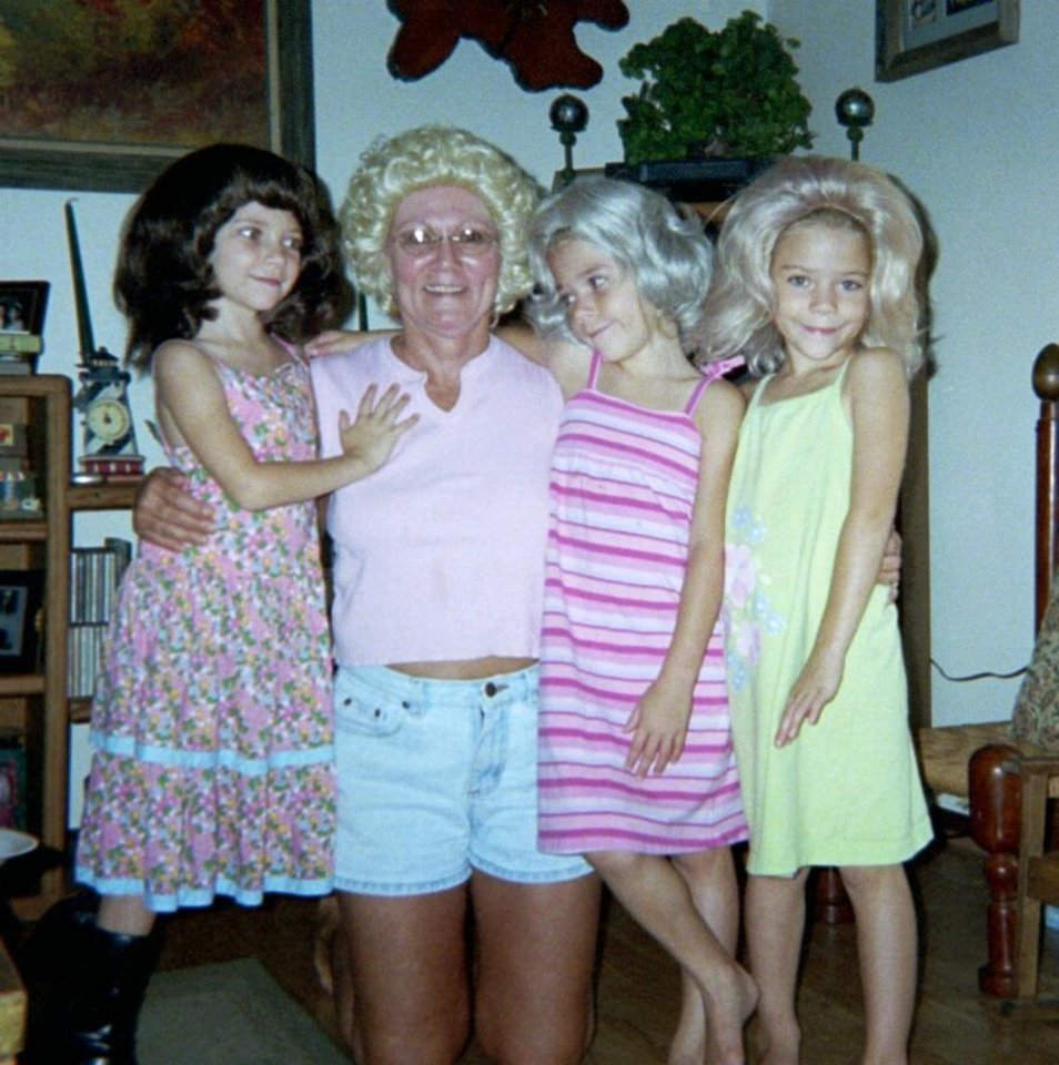 Vikie Kusek and Grandchildren, Abby, Emily and Nataly Hurt, Playing dress up with wigs.<br/><b>Community Photo By:</b> Lance Day<br/><b>Submitted By:</b> vikie, Midwest City