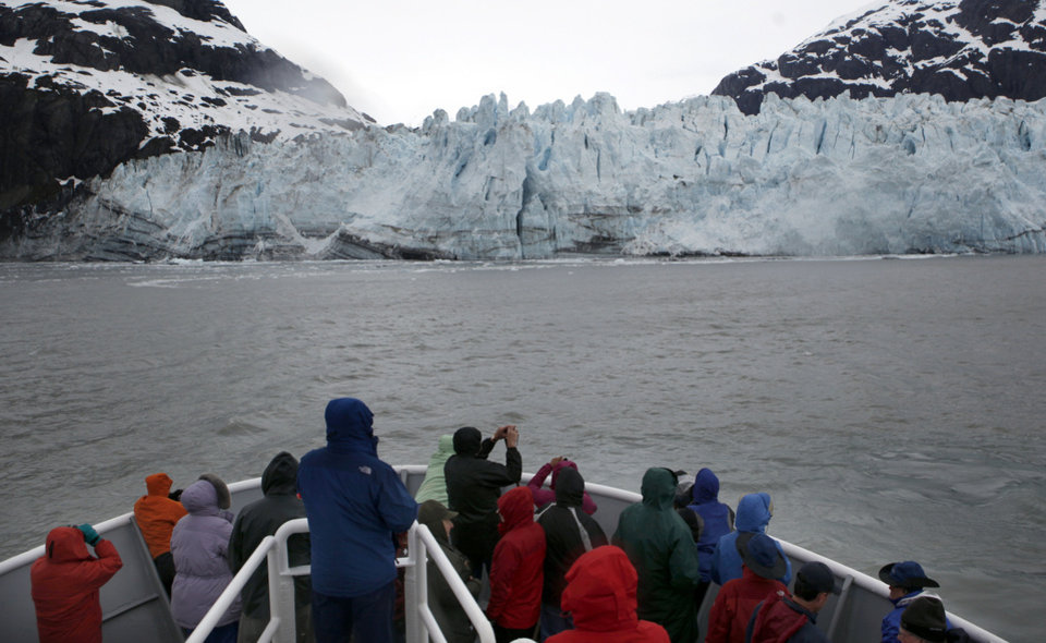 Photo - Guests watch the Margerie Glacier in Glacier Bay Alaska, Thursday, June 7, 2012.  Photo by Sarah Phipps, The Oklahoman