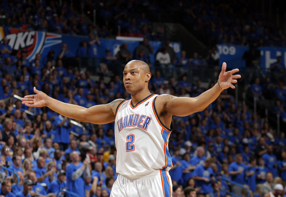 Photo - Oklahoma City 's Caron Butler (2) celebrates during Game 1 in the first round of the NBA playoffs between the Oklahoma City Thunder and the Memphis Grizzlies at Chesapeake Energy Arena in Oklahoma City, Saturday, April 19, 2014. Photo by Sarah Phipps, The Oklahoman