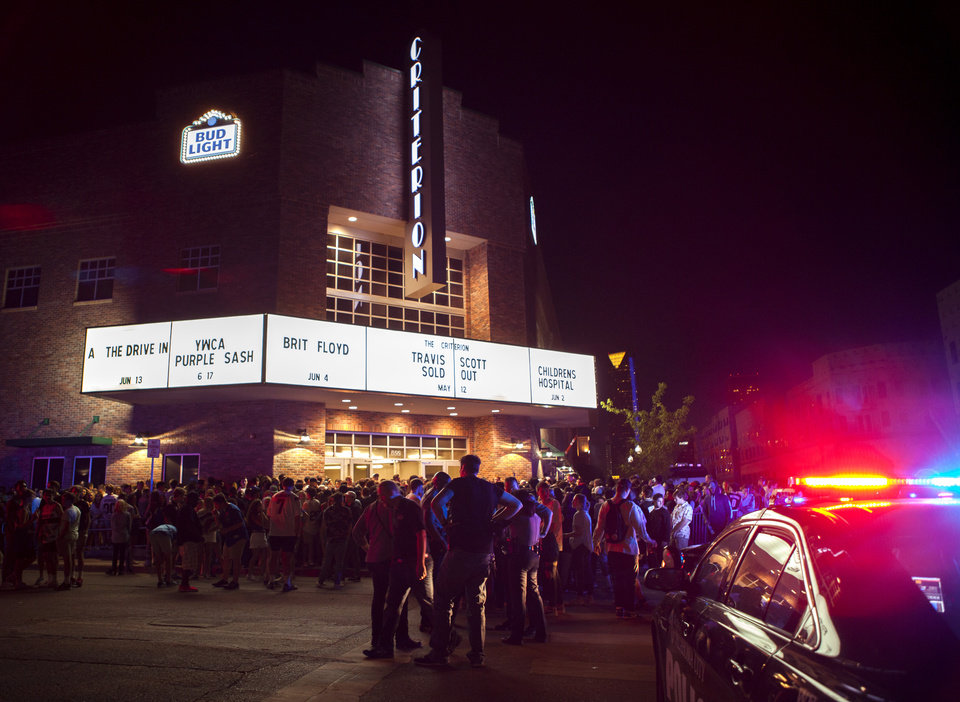 Photo -  On a particularly rowdy May evening, more than 3,000 hip-hop fans had to exit The Criterion before the Travis Scott's Birds Eye Tour could resume after a guardrail was damaged by patrons. [Photo by Nathan Poppe, The Oklahoman]