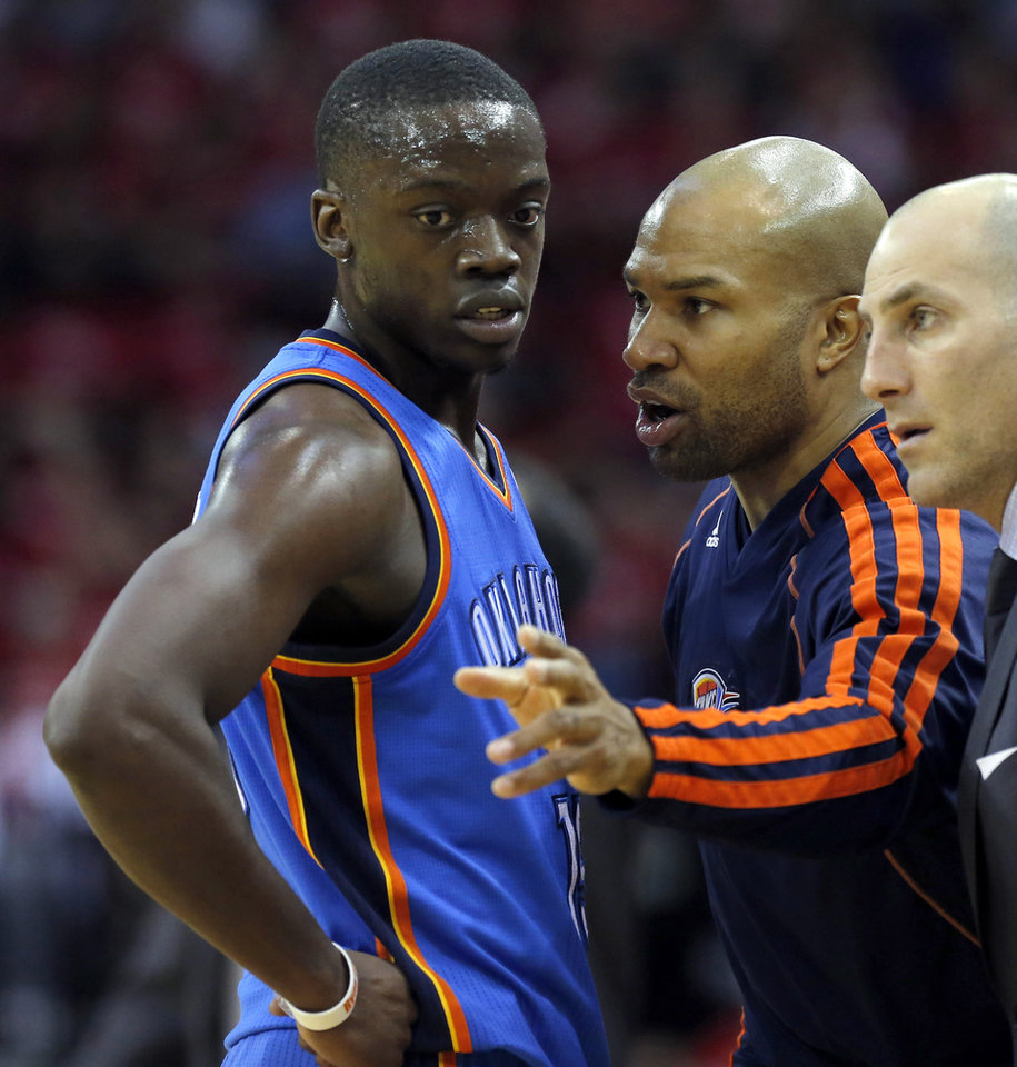 Oklahoma City\'s Derek Fisher (6) talks with Reggie Jackson (15) during Game 4 in the first round of the NBA playoffs between the Oklahoma City Thunder and the Houston Rockets at the Toyota Center in Houston, Texas, Monday, April 29, 2013. Photo by Bryan Terry, The Oklahoman