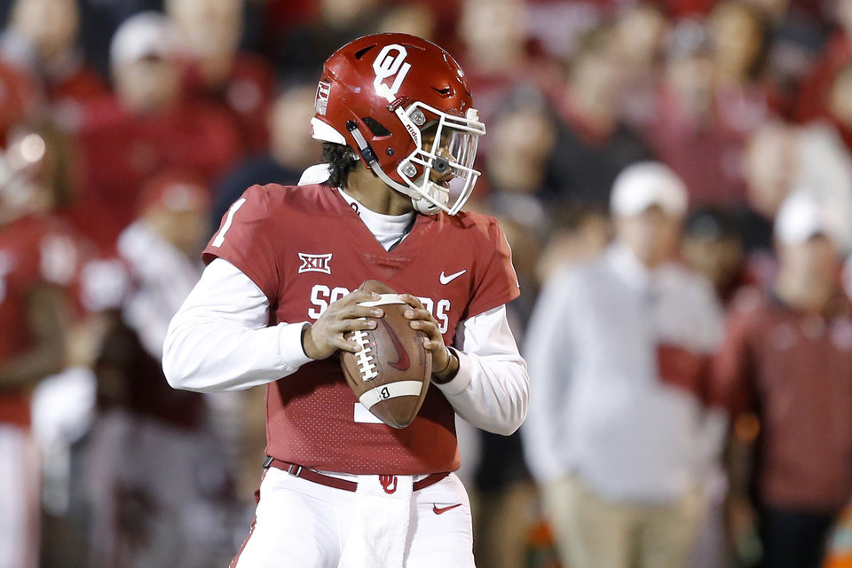 Photo - Oklahoma's Kyler Murray (1) drops back during a college football game between the Oklahoma Sooners (OU) and the West Virginia Mountaineers at Gaylord Family-Oklahoma Memorial Stadium in Norman, Okla., Saturday, Nov. 25, 2017. Oklahoma won 59-31. Photo by Bryan Terry, The Oklahoman