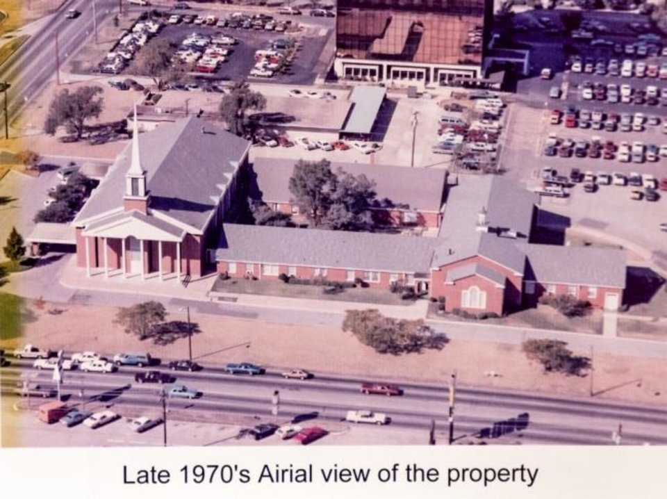 Photo -  A 1970s aerial view of Central Presbyterian Church, 5101 N May, is shown in this photo copy.