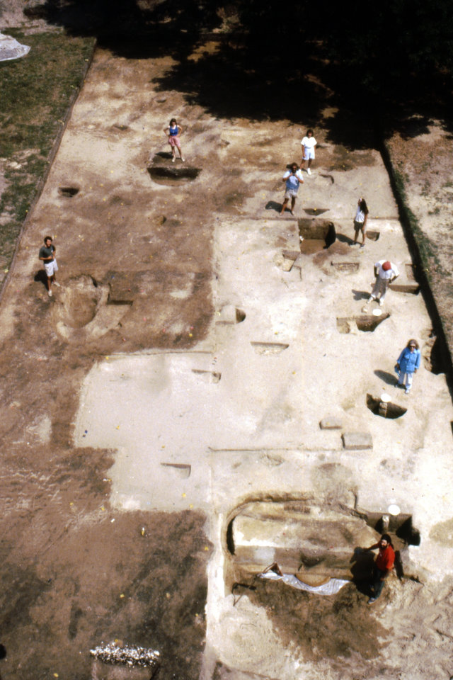 Photo - This 1992 photo made available by the South Carolina Institute of Archeology and Anthropology shows an excavation of two wells found at the Spanish settlement of Santa Elena on Parris Island, S.C. The town of Santa Elena was established in 1566 and served as Spain's colonial capital on the continent until 1576.  It was abandoned in 1587. The nonprofit Santa Elena Foundation plans to open an exhibit that tells of Santa Elena and its role in the European struggle for control of North America.  (AP Photo/South Carolina Institute of Archeology and Anthropology)