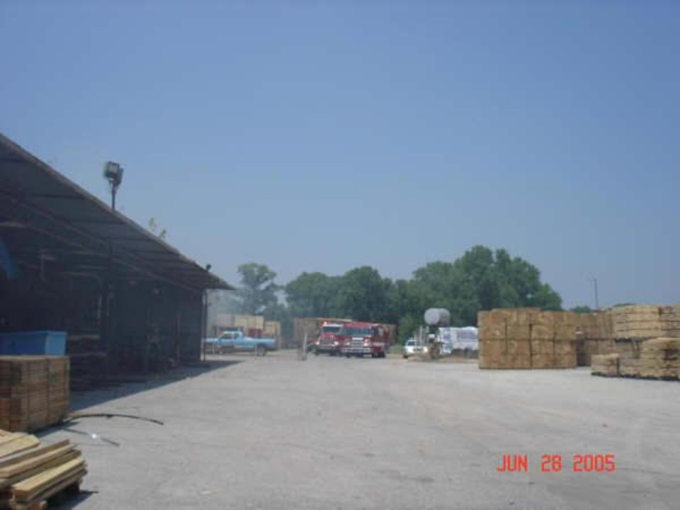 Guthrie Fire Dept. trucks arrive on the scene of a fire at Burgess Manf. of Oklahoma.<br/><b>Community Photo By:</b> G.F.D.<br/><b>Submitted By:</b> jimmy, guthrie