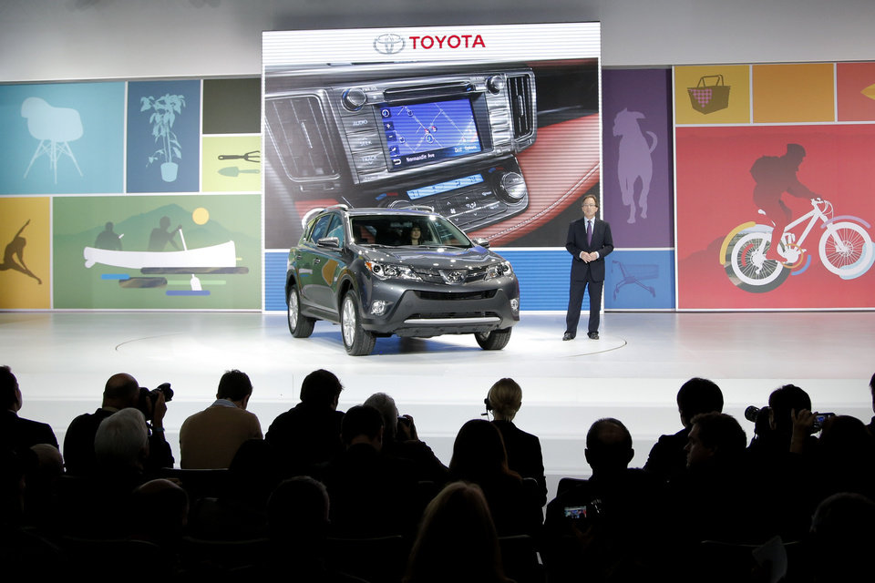Photo - The new Toyota RAV4 is unveiled at the LA Auto Show in Los Angeles, Wednesday, Nov. 28, 2012. The annual Los Angeles Auto Show opened to the media Wednesday at the Los Angeles Convention Center. The show opens to the public on Friday, November 30. (AP Photo/Jae C. Hong)