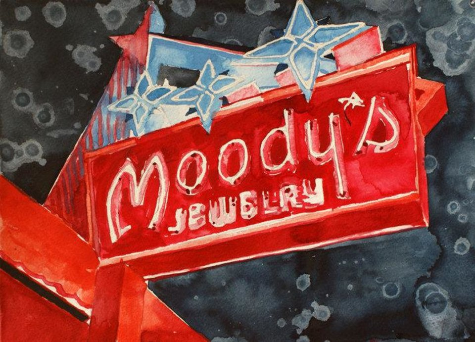 """Tulsa artist Tommy Ball's """"Moody's Neon,"""" a watercolor painting on paper, is featured in the Oklahoma Visual Arts Coalition's 2013 """"Momentum"""" exhibition. Photo provided. <strong></strong>"""