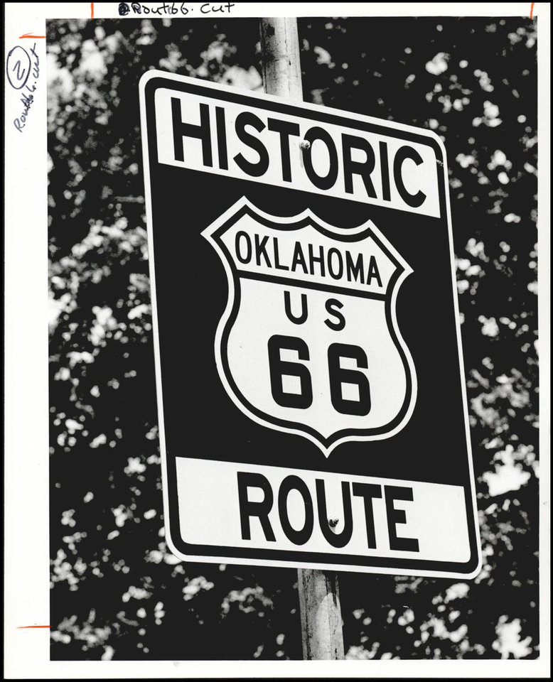 Photo -  This sign was one unveiled in 1990 to mark historic Route 66. [The Oklahoman Archives]