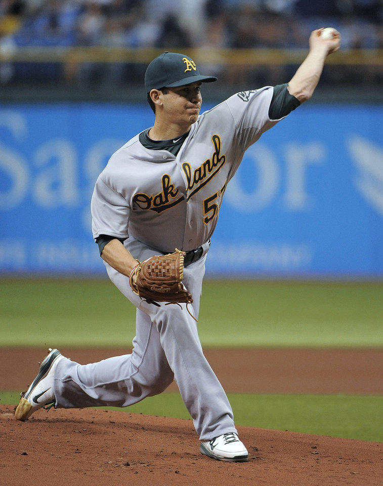 Photo -   Oakland Athletics starting pitcher Tommy Milone delivers to the Tampa Bay Rays during the first inning of a baseball game Sunday, May 6, 2012, in St. Petersburg, Fla. (AP Photo/Brian Blanco)