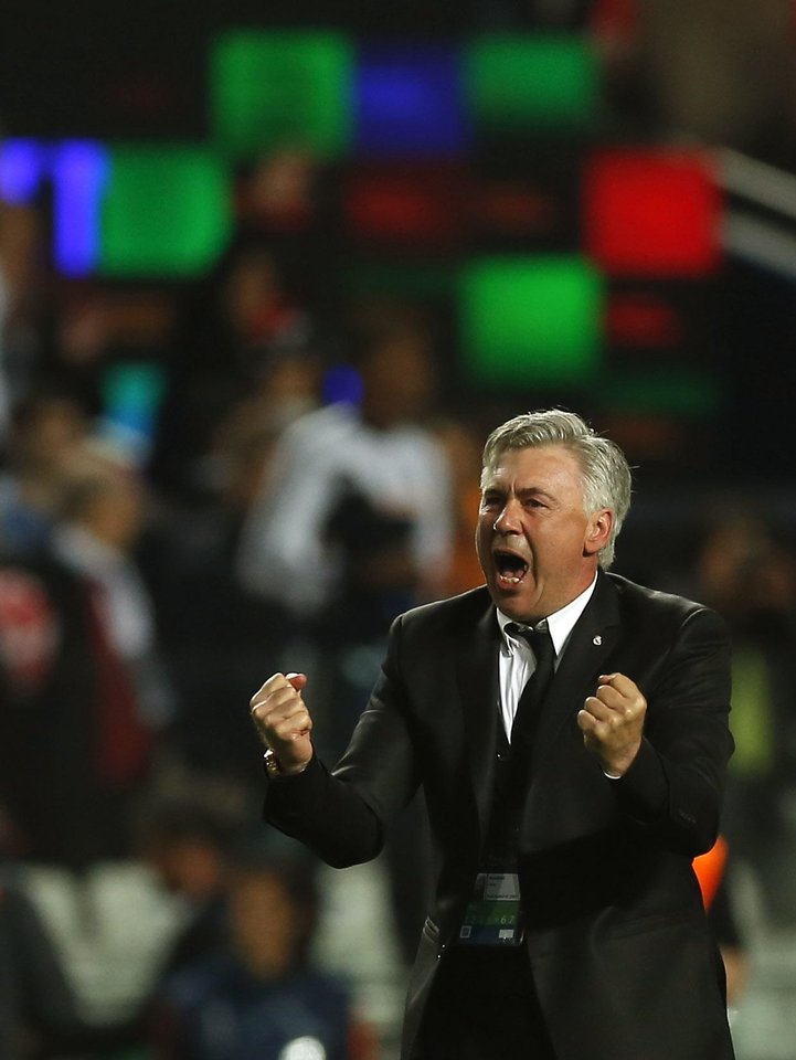 Photo - Real's coach Carlo Ancelotti, gestures, during the Champions League final soccer match between Atletico Madrid and Real Madrid in Lisbon, Portugal, Saturday, May 24, 2014. (AP Photo/Andres Kudacki)