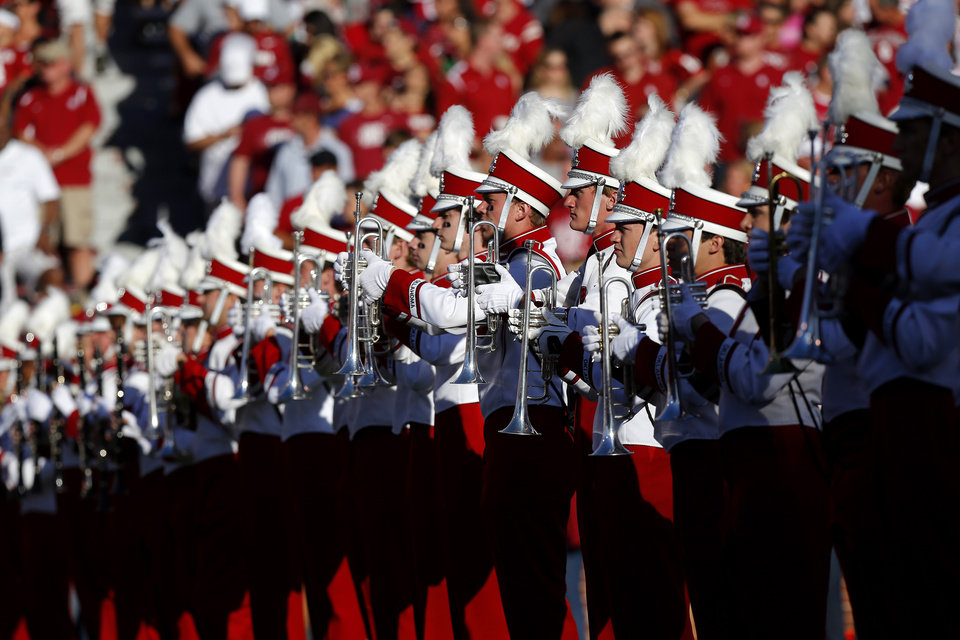 The Pride of Oklahoma performs before before the college football game between the University of Oklahoma Sooners (OU) and Florida A&M Rattlers at Gaylord Family—Oklahoma Memorial Stadium in Norman, Okla., Saturday, Sept. 8, 2012. Photo by Bryan Terry, The Oklahoman