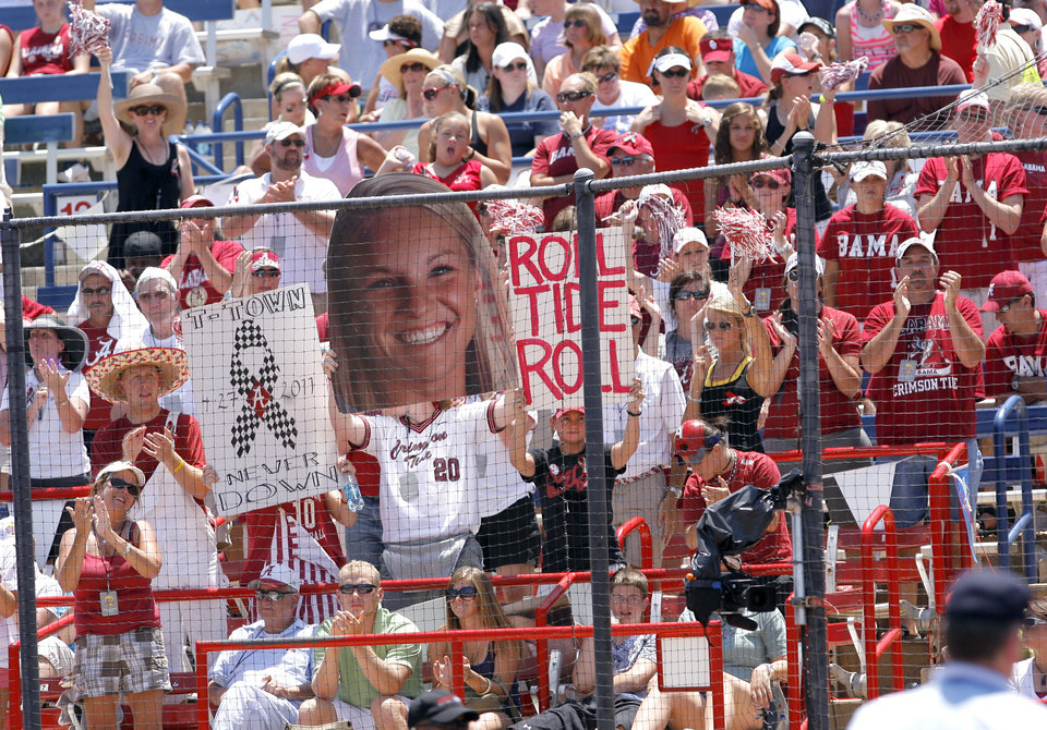 Photo - Alabama fans cheer during the Women's College World Series game between Florida and Alabama at the ASA Hall of Fame Stadium in Oklahoma City, Sunday, June 5, 2011. Photo by Garett Fisbeck, The Oklahoman