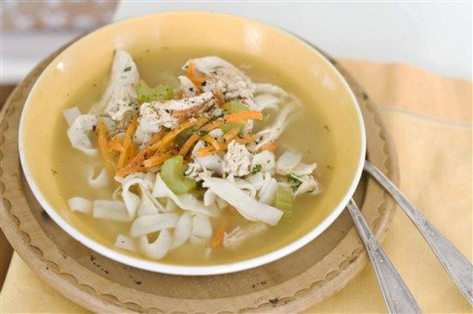 In this image taken on January 7, 2013, chicken and shirataki noodle soup is shown served in a bowl in Concord, N.H. (AP Photo/Matthew Mead)