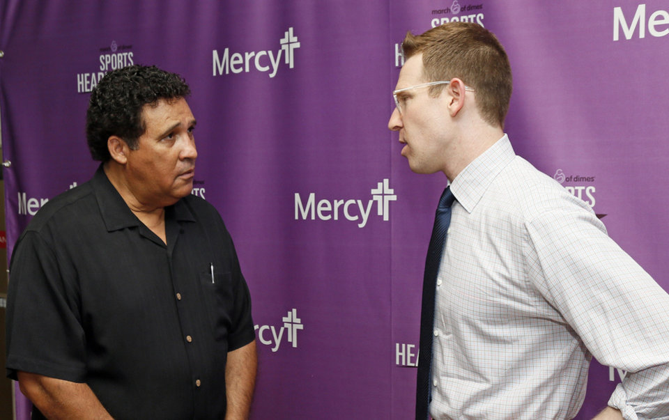Greg Gumbel, Sam Presti. Photo by Nate Billings, The Oklahoman