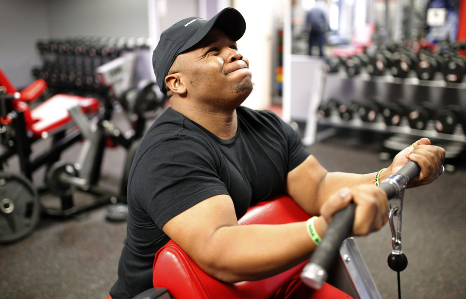 Photo - Ray Westbrook worksout at a gym in Oklahoma City to workout, Tuesday, April 16, 2014. Photo by Bryan Terry, The Oklahoman