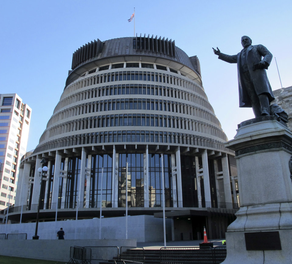 "In this Oct. 22, 2012 photo, the unusual design of the New Zealand Parliament's executive wing, known as the Beehive, graces the skyline in Wellington, New Zealand. Whether you're a fan making a pilgrimage to the city where the ""The Lord of the Rings"" films were made, or you have no interest whatsoever in dwarfs and goblins, there's plenty to do in Wellington. For free. (AP Photo/Nick Perry)"