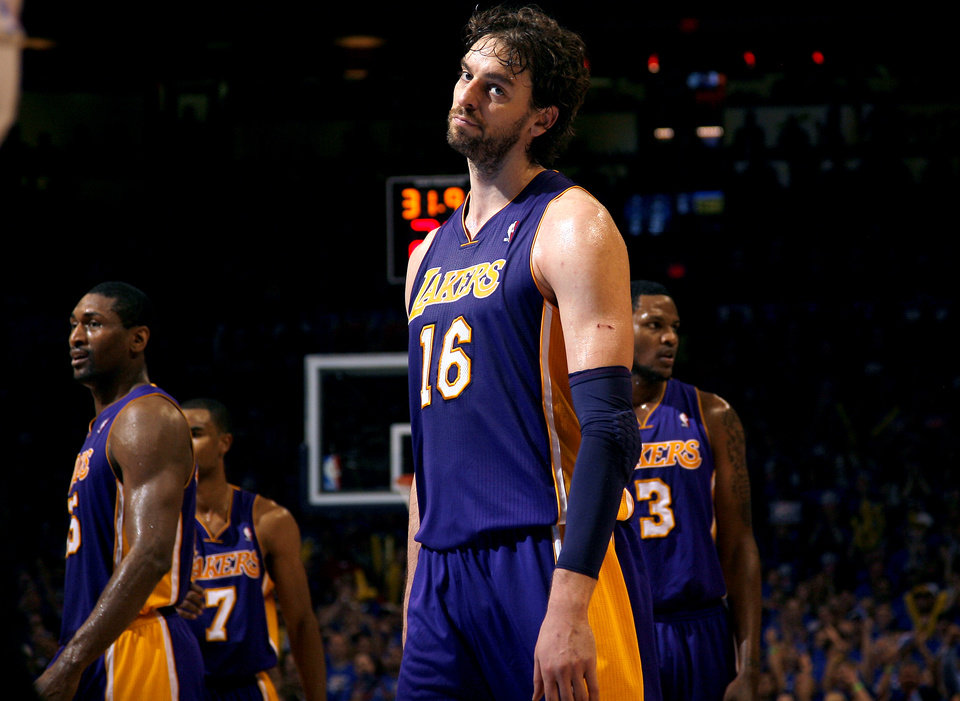 Los Angeles' Pau Gasol (16) reacts after the Lakers' receive back to back technical fouls during Game 5 in the second round of the NBA playoffs between the Oklahoma City Thunder and the L.A. Lakers at Chesapeake Energy Arena in Oklahoma City, Monday, May 21, 2012. Photo by Sarah Phipps, The Oklahoman